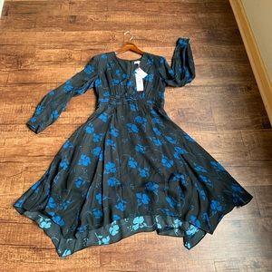 Parker Fulton stems silk blend longsleeve dress